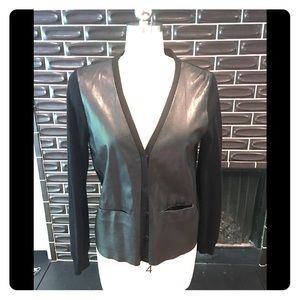 J Brand Leather Cardigan Black size medium